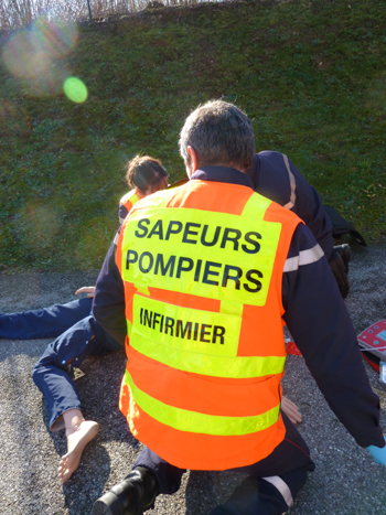 Sapeur-Pompier Infirmier en intervention